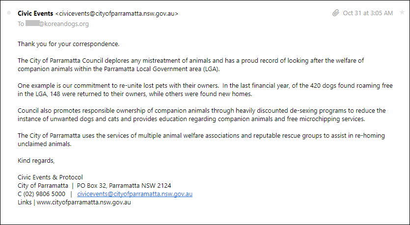 Response from Parramatta 103117