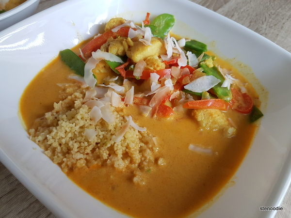 Thai Fish Curry in a Coconut Broth with Snow Peas and Lime Couscous