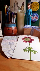 Thirty #PostcardsToVoters written this weekend, all under the watchful eye of Desk Hillary, who provides moral support.