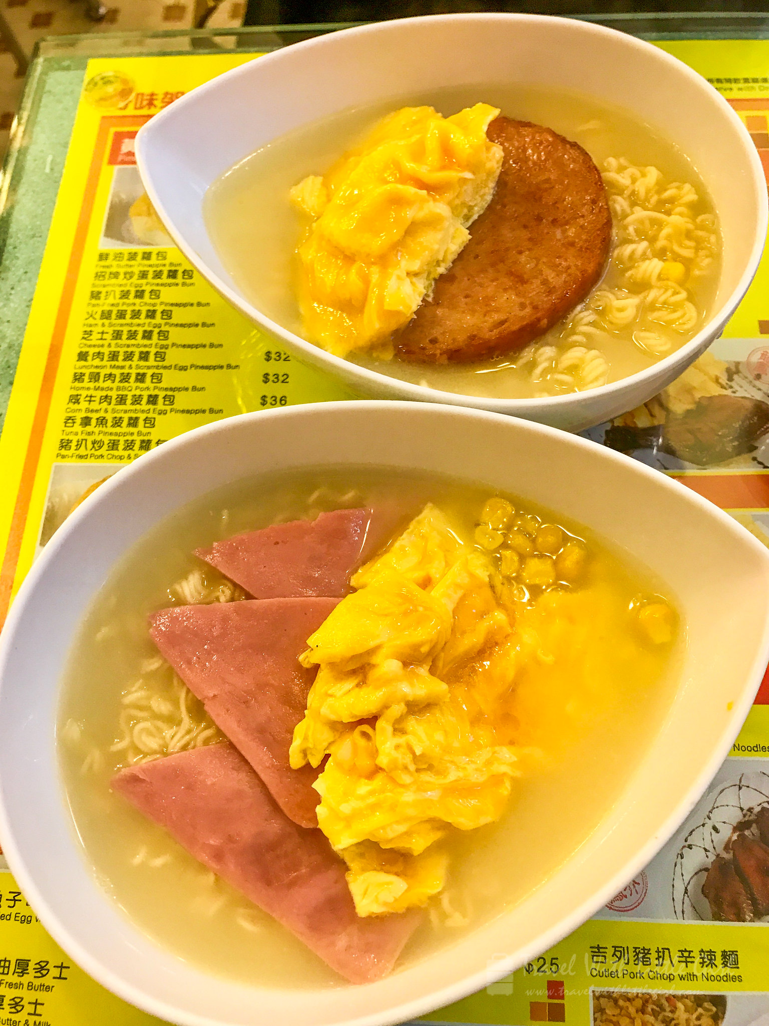 Luncheon meat or ham and scrambled egg with noodle with soup
