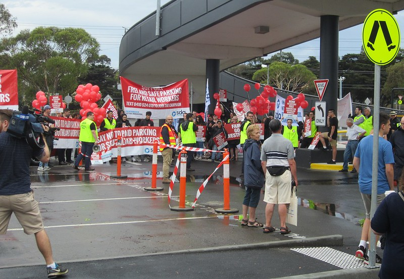 Protest against parking fees adjacent to Southland Station