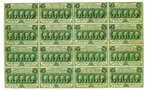 Sheet of 1st Issue 50c Postal Currency