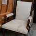 Ornate high back armchair cream fabric E115
