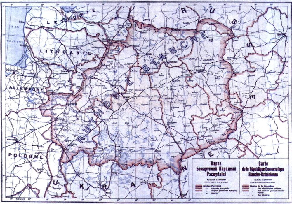 Map showing the White Russian territory (Ruthienie Blanche) in 1918.