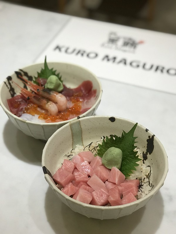 Kuro Maguro's Toro Butsu Meshi (foreground) and Kaisen Meshi