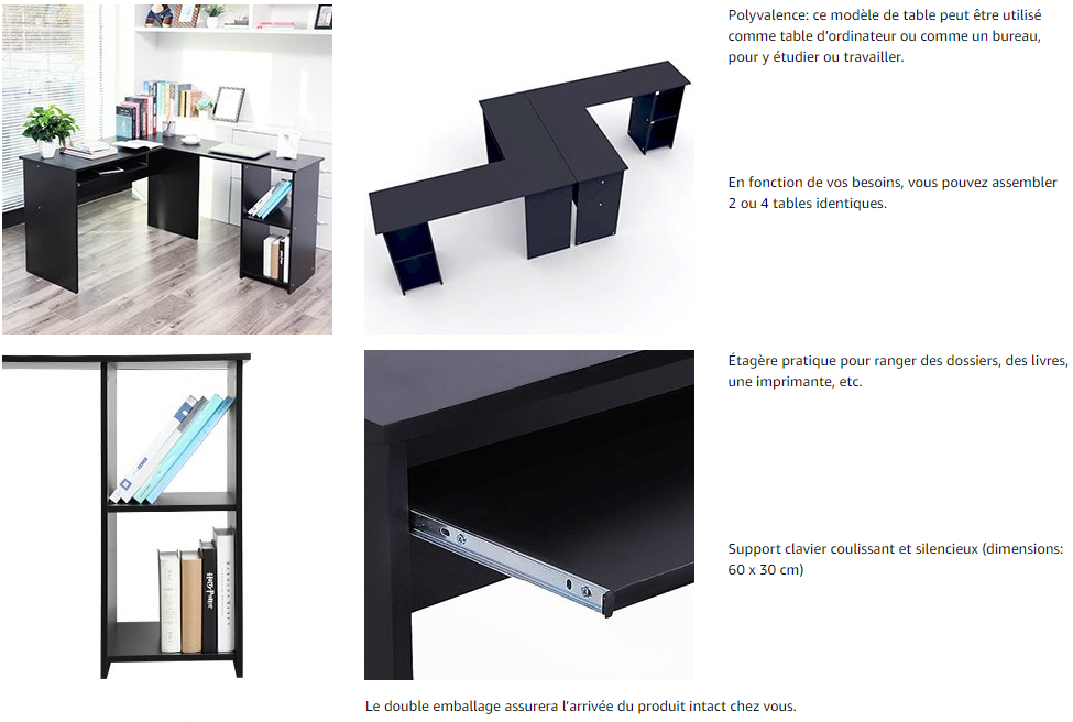 Songmics bureau informatique table informatique bureau dangle