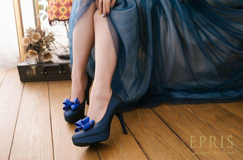 藍色婚鞋配色婚鞋百搭鞋款拉長顯瘦增高藍色晚禮服搭配藍色新娘鞋婚鞋高跟鞋同色系搭配艾佩絲EPRIS婚鞋