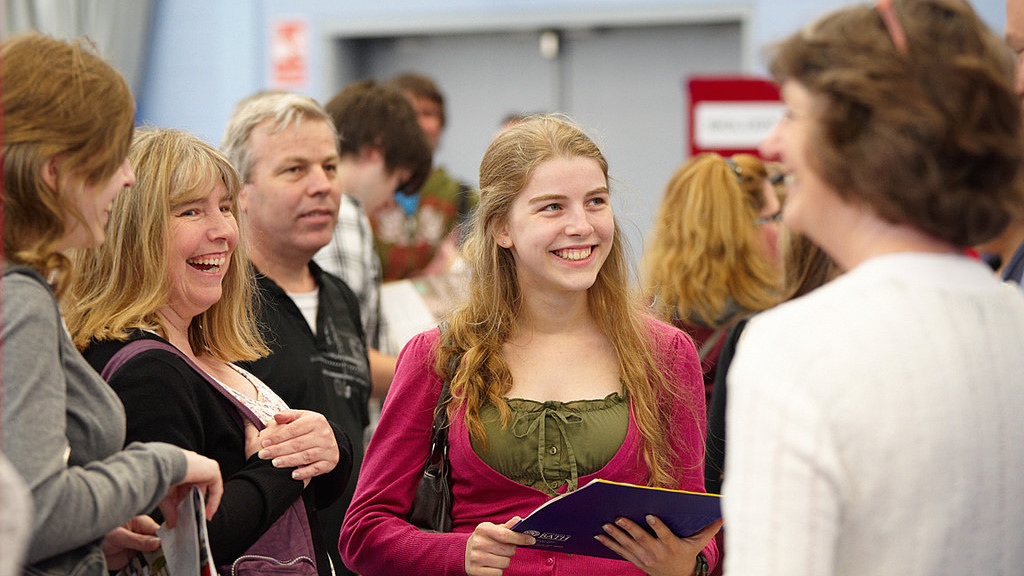Student and parents at an open day
