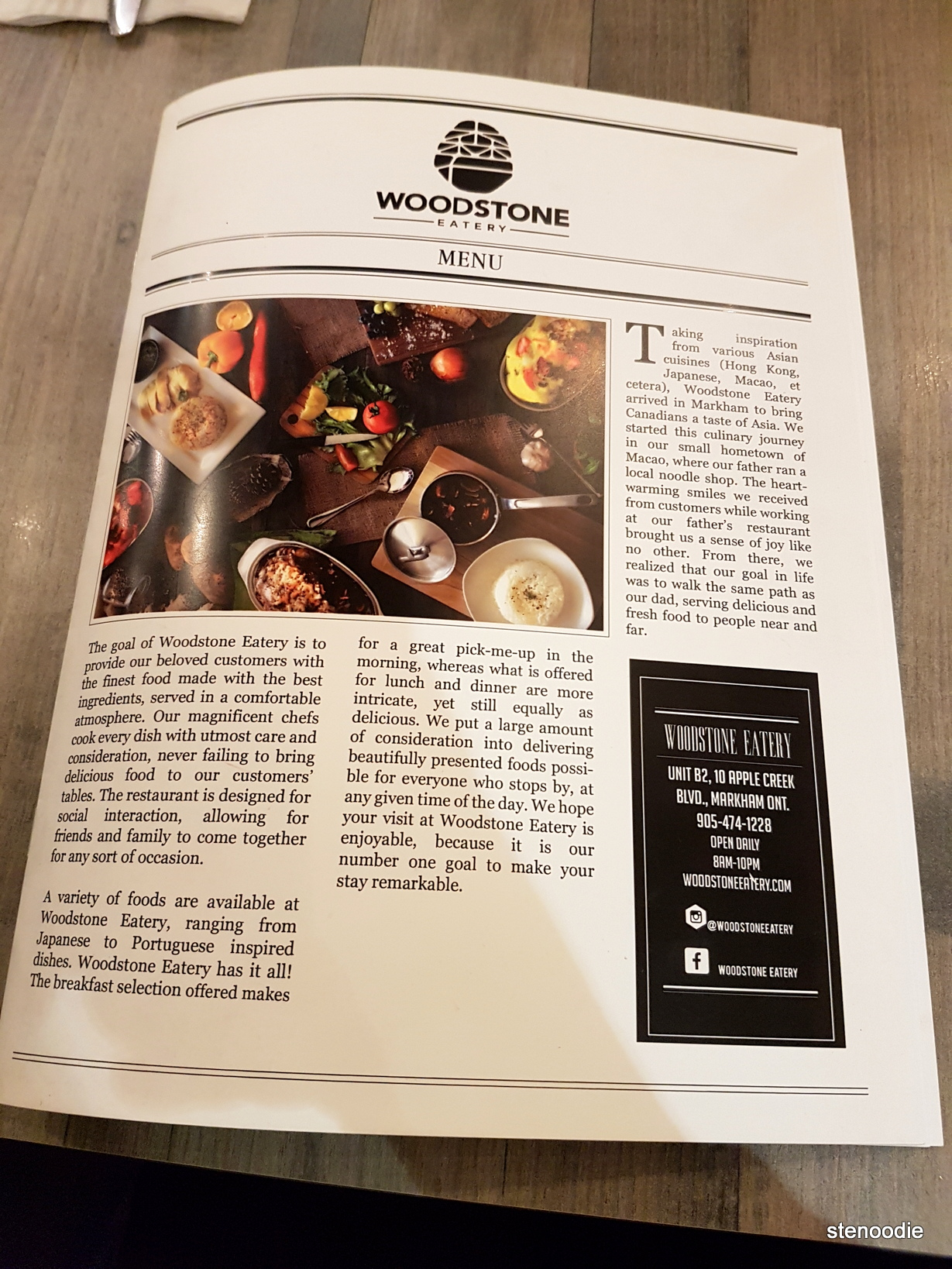 Woodstone Eatery menu cover
