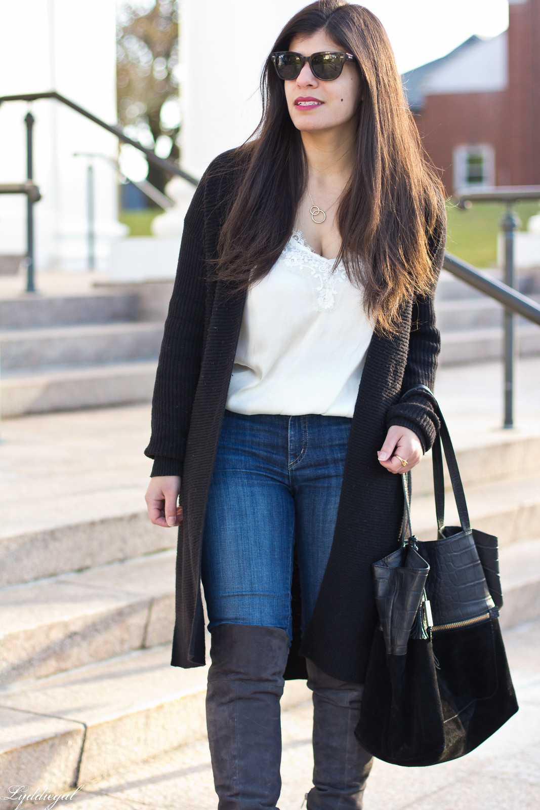CT Fashion blogger wearing a lace cami, black long cardigan, over the knee boots, jeans-18.jpg