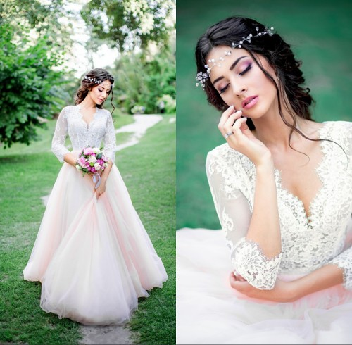 Tulle Outdoor Long Pink Lace Royal Sleeves Wedding Dresses