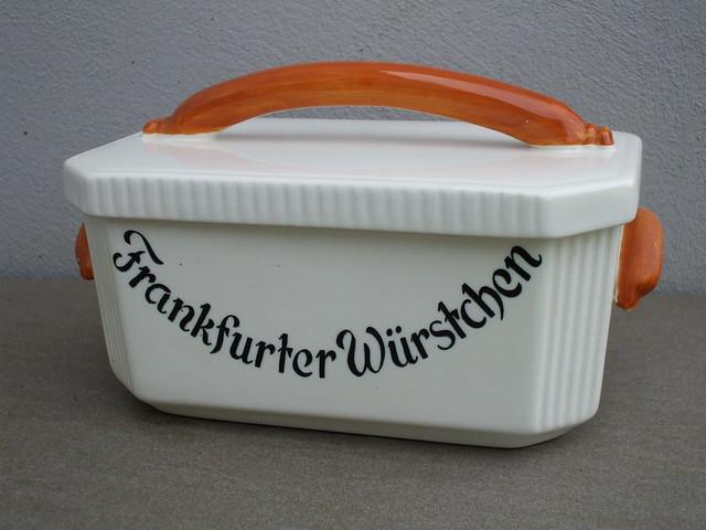 Kitsch Schramberger Majolika Frankfurter Wurstchen Covered Dish Kitchenalia Made in West Germany
