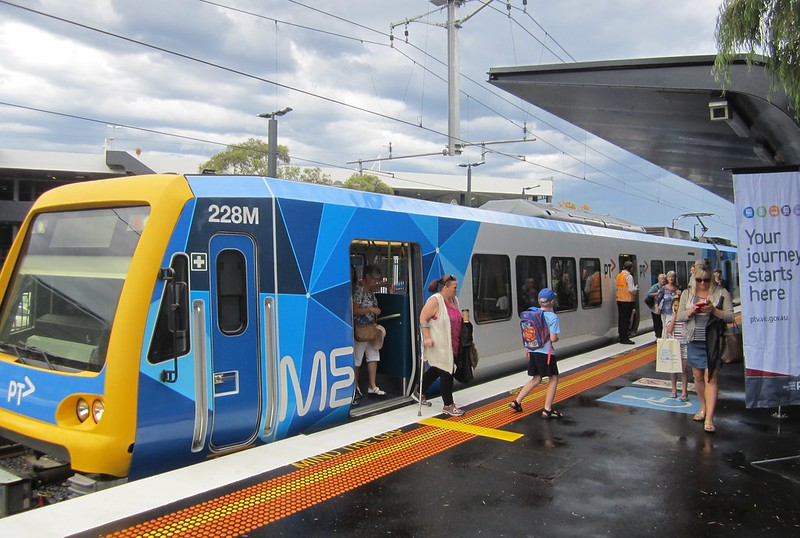 A citybound train arrives at Southland Station