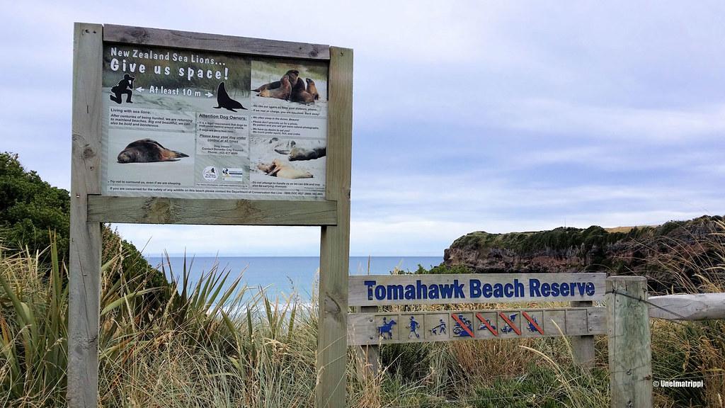 Tomahawk Beach Reserve -kyltti, Uusi-Seelanti