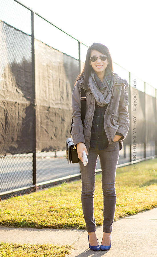 plaid and herringbone infinity scarf, gray military jacket, black watch plaid shirt, gray skinny jeans, black shoulder bag, blue suede pumps