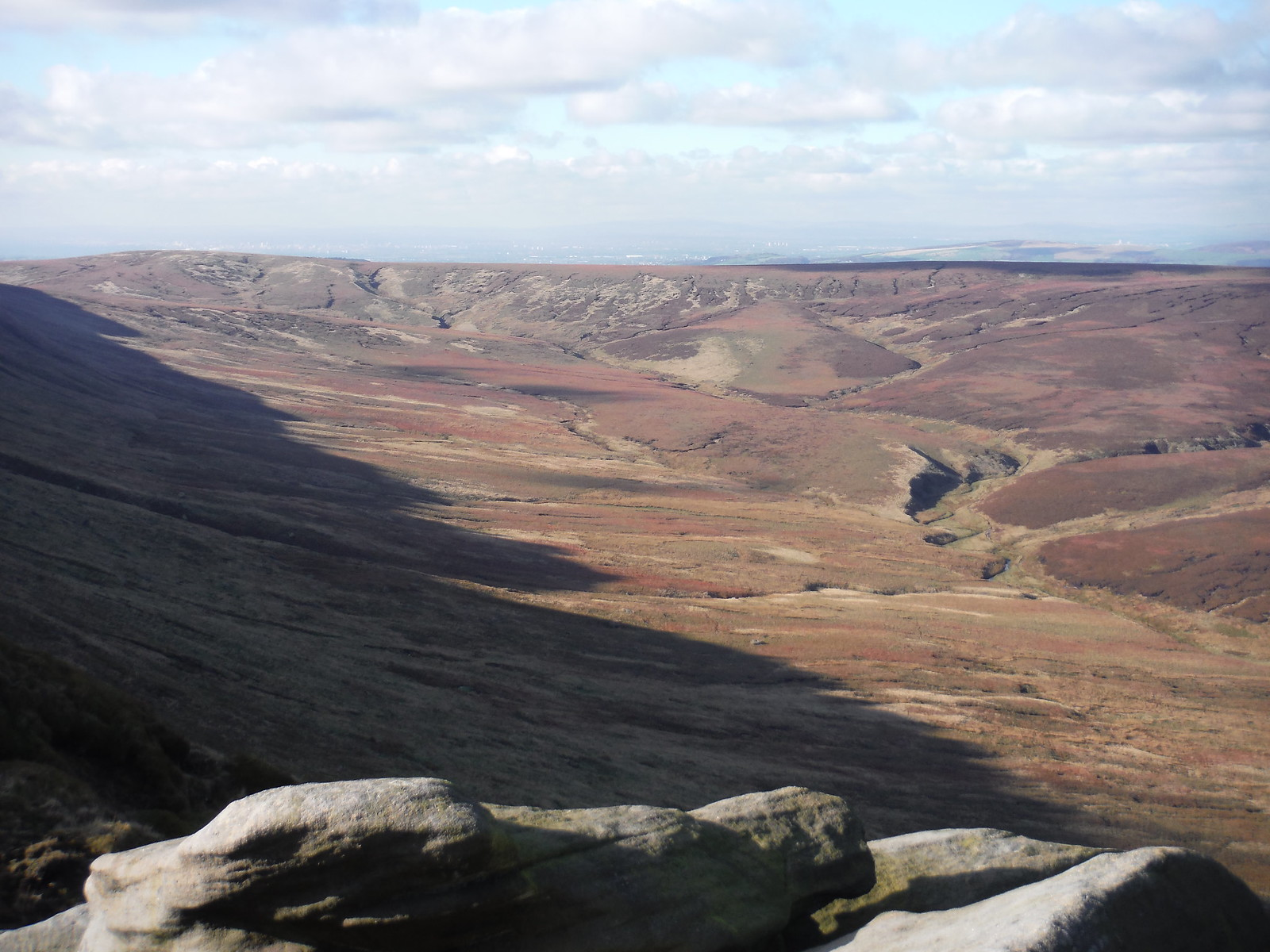 Upper Ashop Clough (Pennine Way runs along ridge) SWC Walk 304 - Kinder Scout Circuit (from Edale)