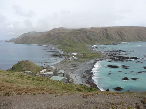 A view of the isthmus and the research station on Macquarie Island.