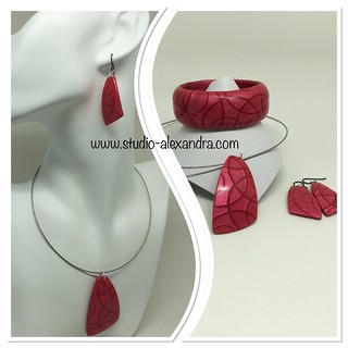 Red jewelry set - mica shift