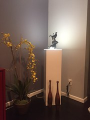 White Laminate Pedestal with Ambient Light