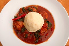 PLASAS & FOO FOO (WEST AFRICAN CHICKEN, SPINACH, TOMATO AND PEANUT STEW WITH CASSAVA)
