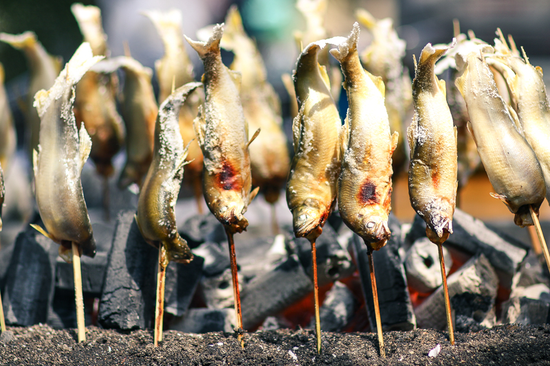 Barbecued fish on stick