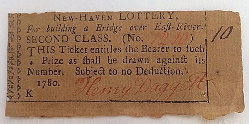 1780 New Haven Lottery ticket
