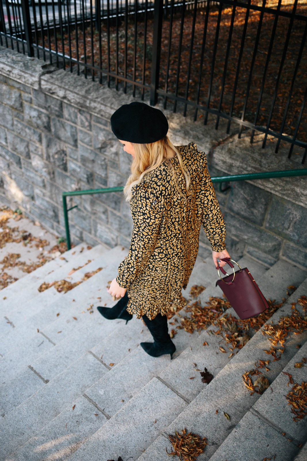 Leopard Ruffle Dress Black Beret Fashion Blogger Style Outfit