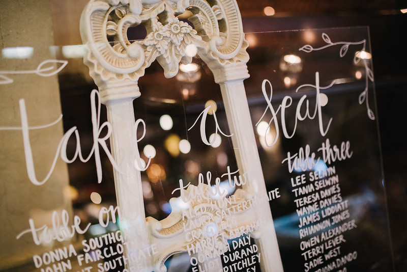 picture of an acrylic wedding talk plan with white chalk text