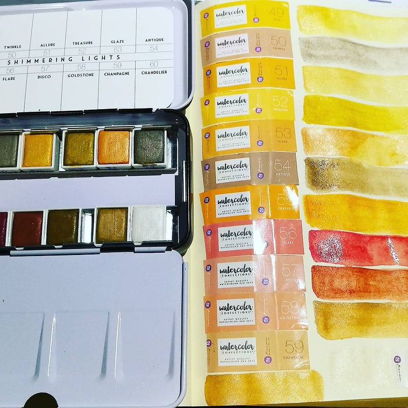 Excited to have these #primamarketing #shimmeringlights #watercolors to play with 💖 I knew I needed to have them seeing @khourianya using them for her gorgous works. Got another prima set, decandent pies in a twofer-deal! Yay black friday