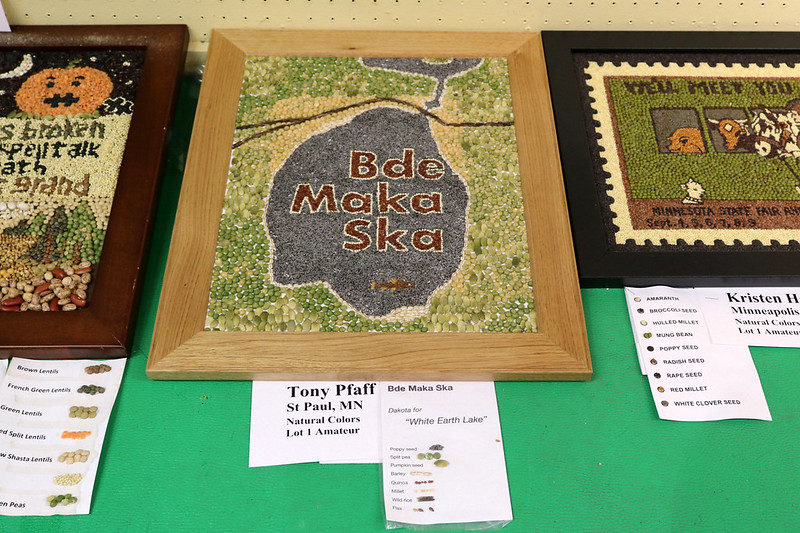 framed artwork of a lake with lettering that says Bde Maka Ska