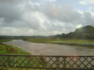 The river Towy seen from a train on the lifting bridge which crosses the river just outside Carmarthen