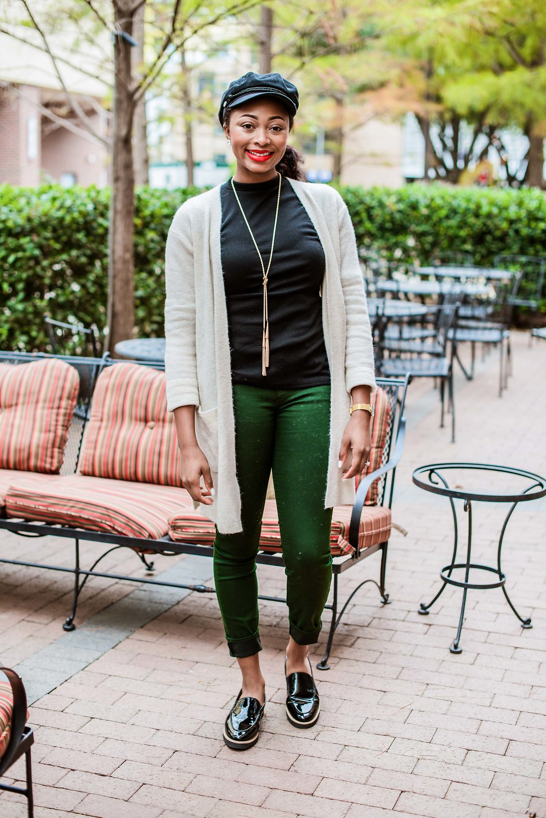 how to wear green jeans, candace hampton