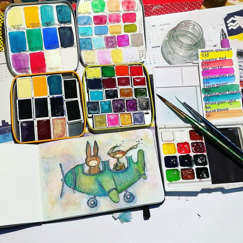 My current favorite watercolor palettes :) ____ #watercolorpaint #watercolorpractice #watercolor #watercolorart #watercolourart #watercolour #aquarelle #sennelier #schmincke #pfeifferartsupply #princetonbrush #artsupplies #artistsofinstagram #createeveryd