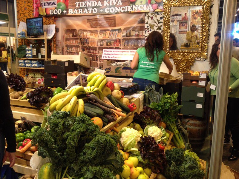 Puesto de verduras y frutas bio