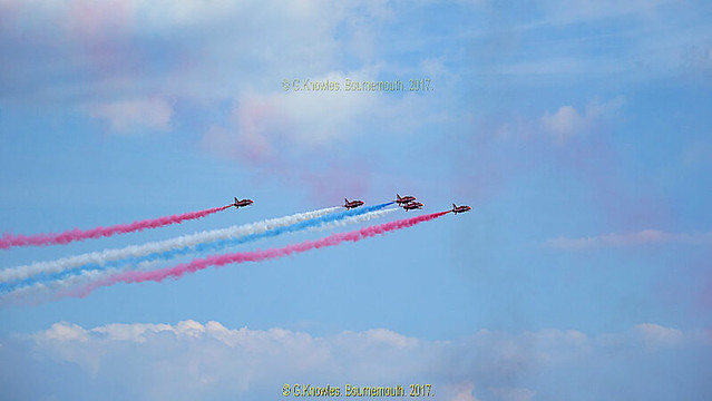 The Red Arrows at Bournemouth Air Festival, September 2017, Undercliff Drive, Bournemouth, Dorset. England.
