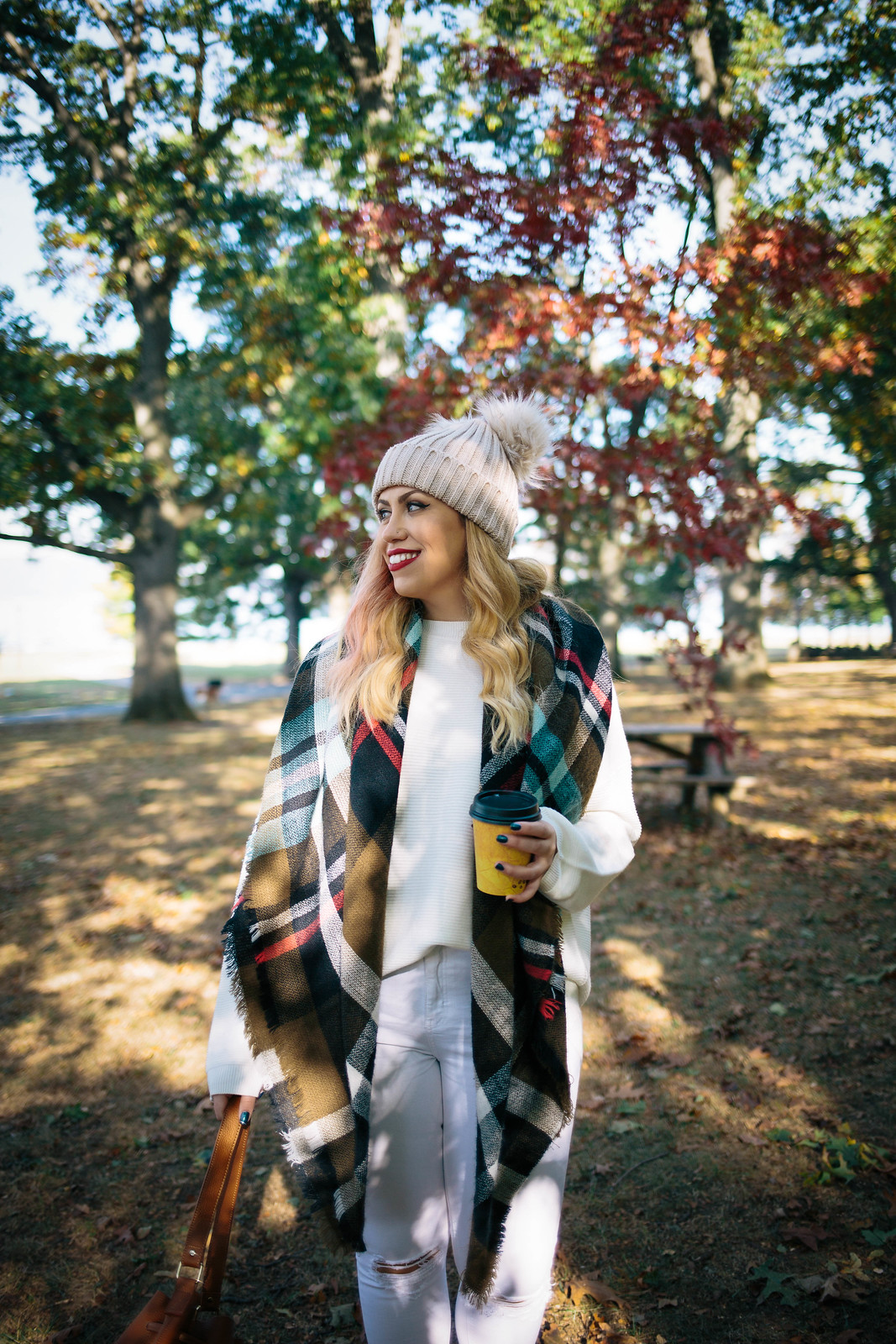 Fall Foliage Pom Pom Beanie Winter White Outfit Plaid Scarf