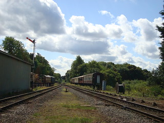 Looking south from Rothley station to where the double track line from Loughborough reduces to single track