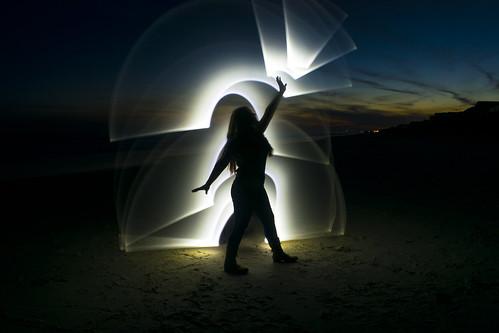 lightpaint beach sand yoga pose night sunset topsailisland