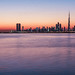 Dubai skyline in sunset