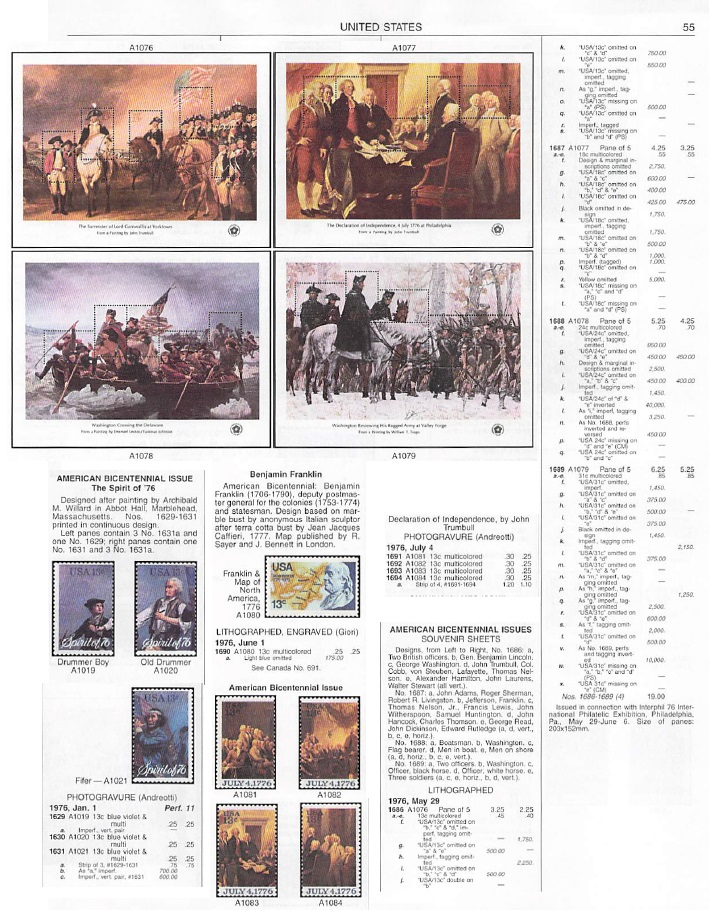 Scott catalogue page depicting Scott #1686-1689 and other 1976 Bicentennial stamps.
