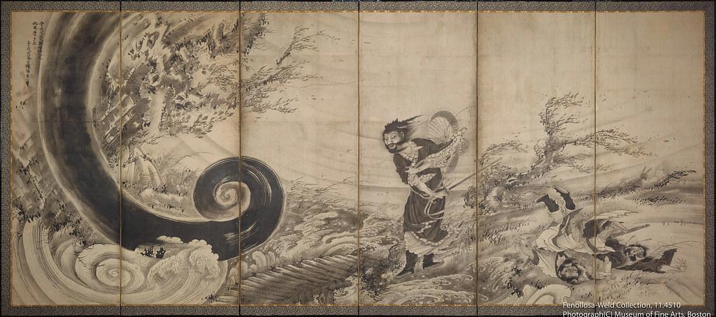 曾我蕭白《風仙図屏風》(1764年頃)ボストン美術館所蔵
