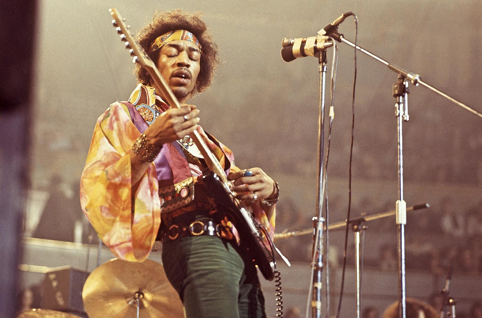 Jimi Hendrix performing at the Royal Albert Hall, London, on February 24, 1969.