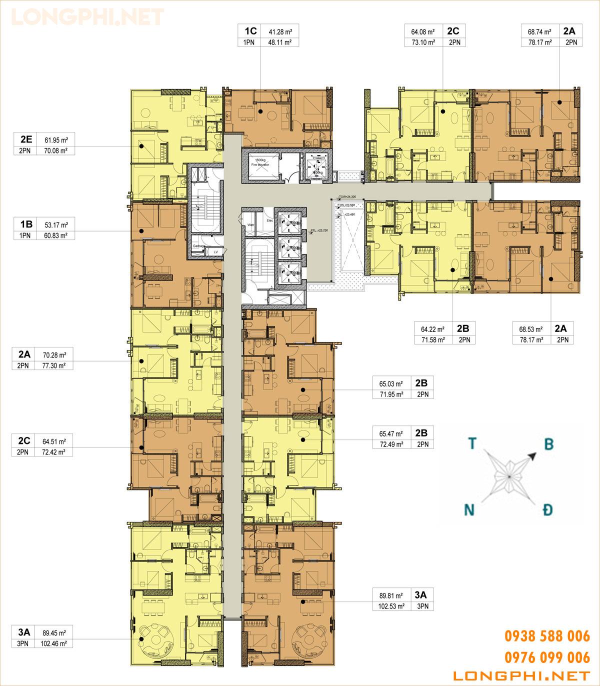 Mặt bằng tháp A dự án căn hộ Kingdom 101 số 334 Tô Hiến Thành quận 10.