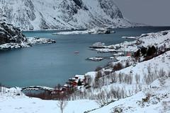 SW.-wards view over Maervollspollen of Steinsfjorden to Himmeltindan-Nordtinden-Nonshammaren mounts. Vestvagoya-Lofoten-Norway.0582