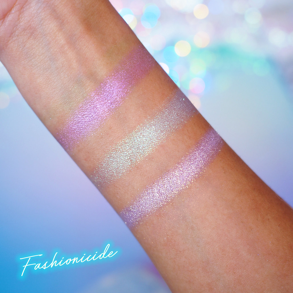 Lime Crime Hi-Lite Unicorns Highlighter Highlighting Swatches Daydreamin Frolic and Happyland