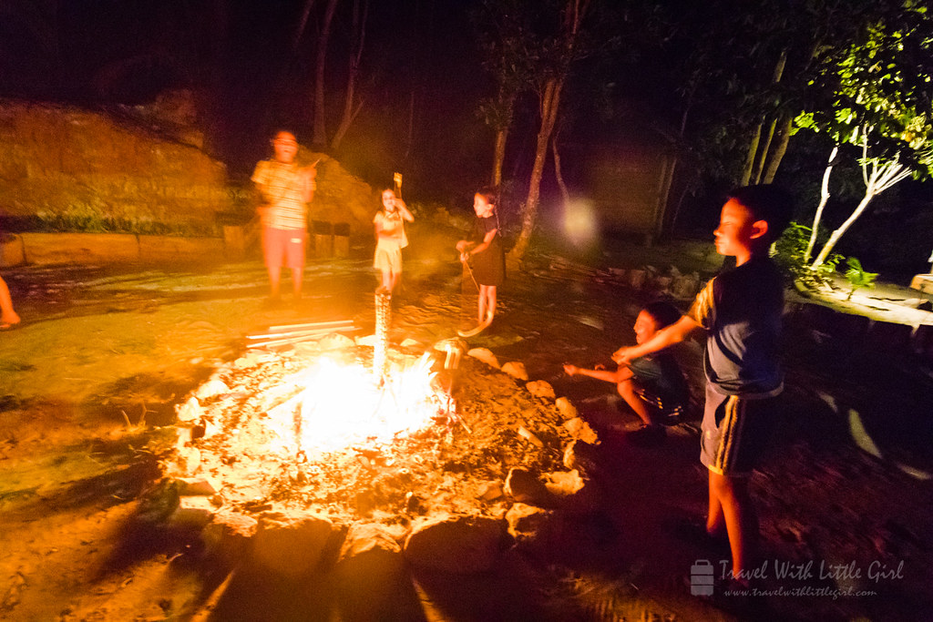 Bonfire with other guests and kids at Telunas Private Island