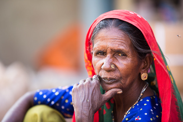 Portrait of a market woman in Bhuj, India.
