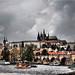 Charles Bridge and Hradcany In Prague by Ostseetroll
