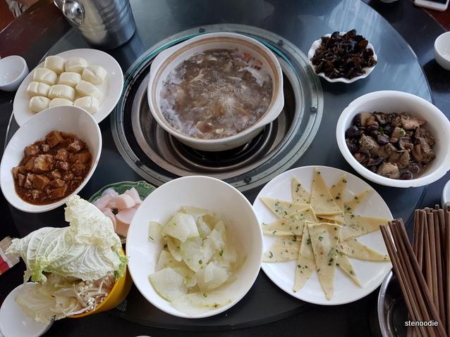 Mushroom soup hot pot dinner