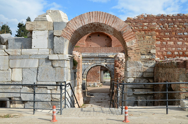 Lefke Gate (the eastern gate) with Roman triumphal arch dating to the 1st century AD, later part of Nicaea's Byzantine fortifications, Iznik, Turkey